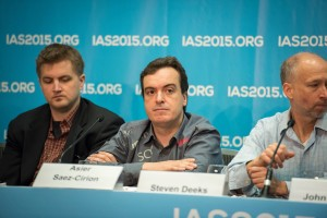 """The 8th IAS Conference on HIV Pathogenesis, Treatment and Prevention (IAS 2015), at the Vancouver Convention Centre in Vancouver, Canada. Photo shows Official IAS Press Conference: Towards an HIV Cure. From left to right: Christopher Peterson, Asier Saez-Cirion, Steven Deeks. Photo ©Steve Forrest/Workers' Photos/IAS"""
